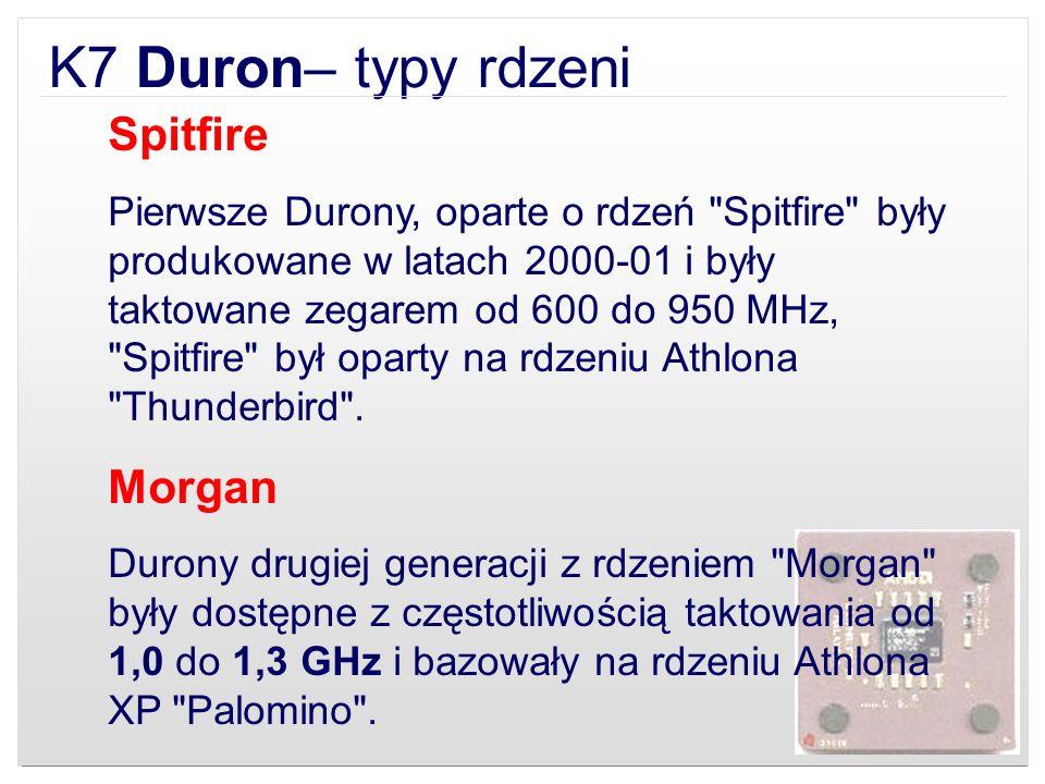 K7 Duron– typy rdzeni Spitfire Pierwsze Durony, oparte o rdzeń
