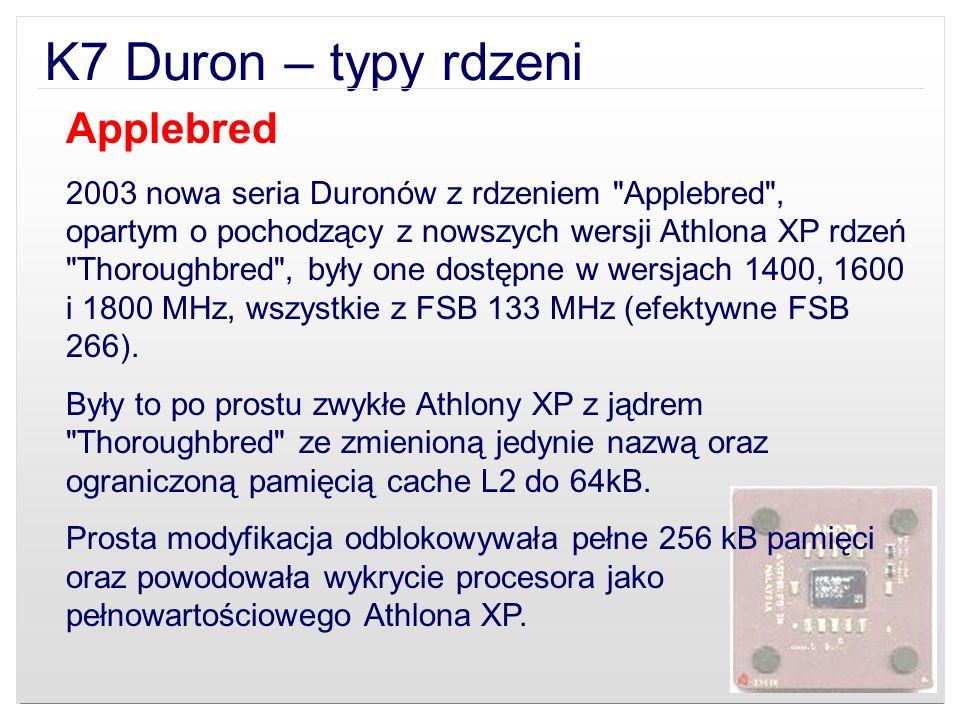 K7 Duron – typy rdzeni Applebred 2003 nowa seria Duronów z rdzeniem