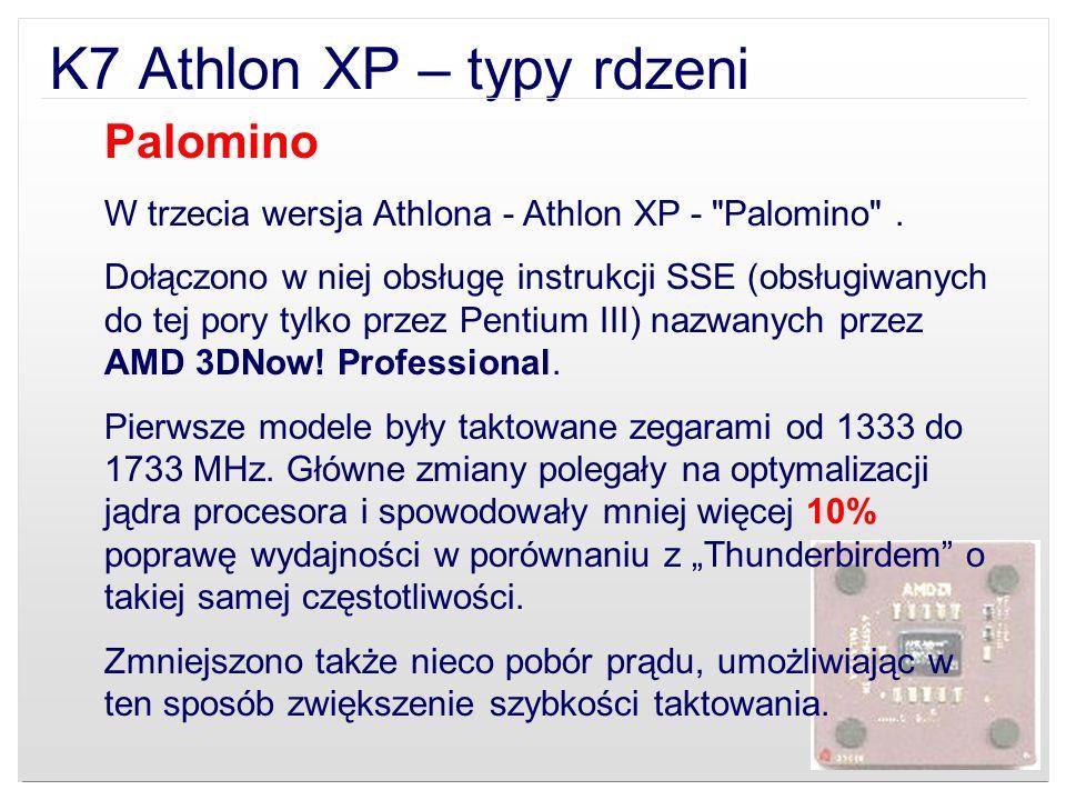 K7 Athlon XP – typy rdzeni Palomino W trzecia wersja Athlona - Athlon XP -