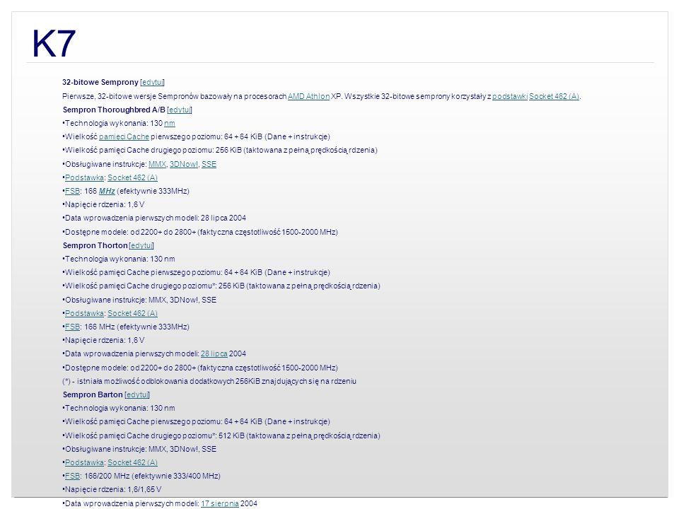 K7 32-bitowe Semprony [edytuj]edytuj Pierwsze, 32-bitowe wersje Sempronów bazowały na procesorach AMD Athlon XP. Wszystkie 32-bitowe semprony korzysta