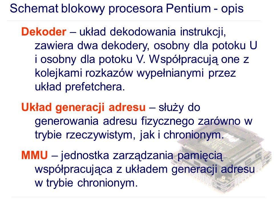 Schemat blokowy procesora Pentium - opis Dekoder – układ dekodowania instrukcji, zawiera dwa dekodery, osobny dla potoku U i osobny dla potoku V.
