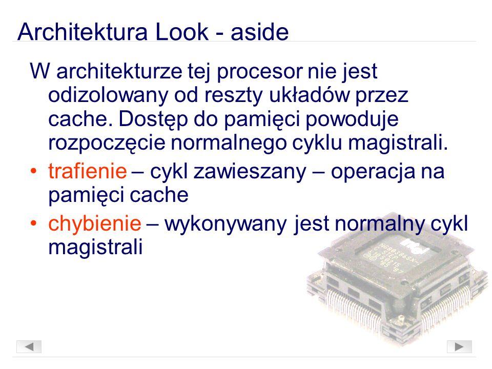 Architektura Look - aside W architekturze tej procesor nie jest odizolowany od reszty układów przez cache.