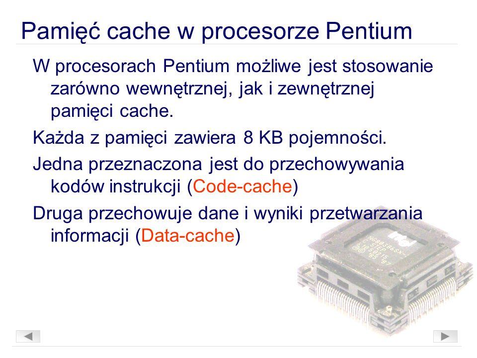 W procesorach Pentium możliwe jest stosowanie zarówno wewnętrznej, jak i zewnętrznej pamięci cache.