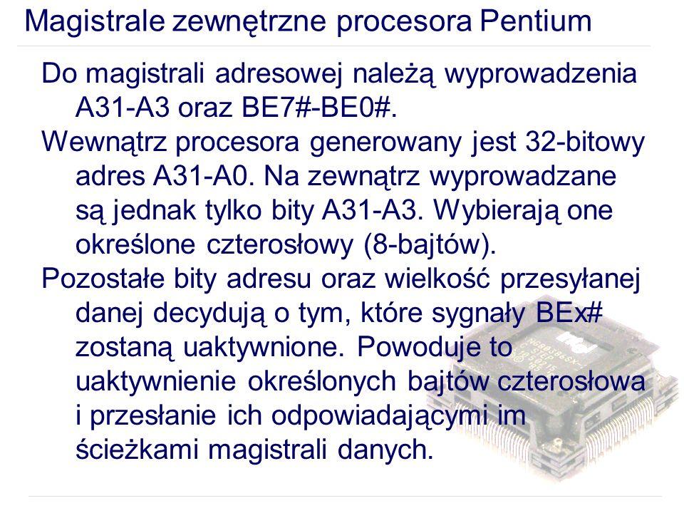 Magistrale zewnętrzne procesora Pentium Do magistrali adresowej należą wyprowadzenia A31-A3 oraz BE7#-BE0#.