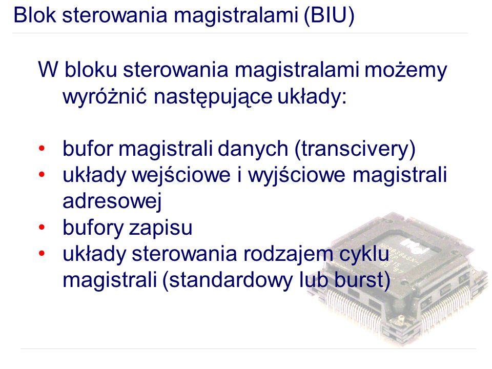 W bloku sterowania magistralami możemy wyróżnić następujące układy: bufor magistrali danych (transcivery) układy wejściowe i wyjściowe magistrali adresowej bufory zapisu układy sterowania rodzajem cyklu magistrali (standardowy lub burst)