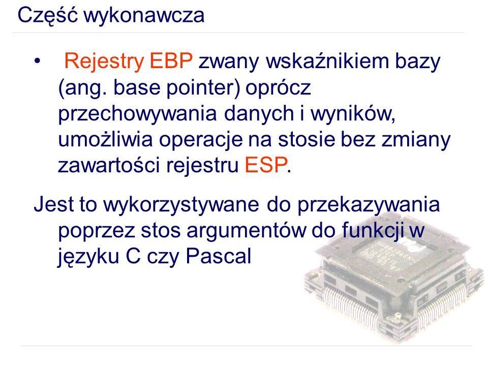 Część wykonawcza Rejestry EBP zwany wskaźnikiem bazy (ang.