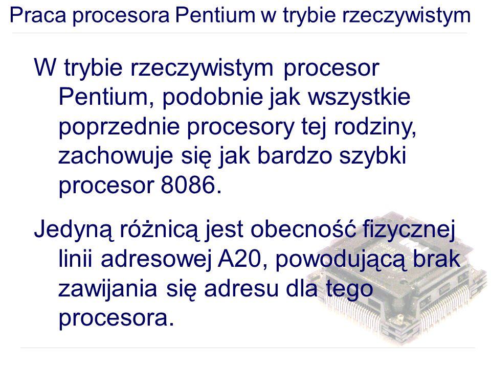 W trybie rzeczywistym procesor Pentium, podobnie jak wszystkie poprzednie procesory tej rodziny, zachowuje się jak bardzo szybki procesor 8086.