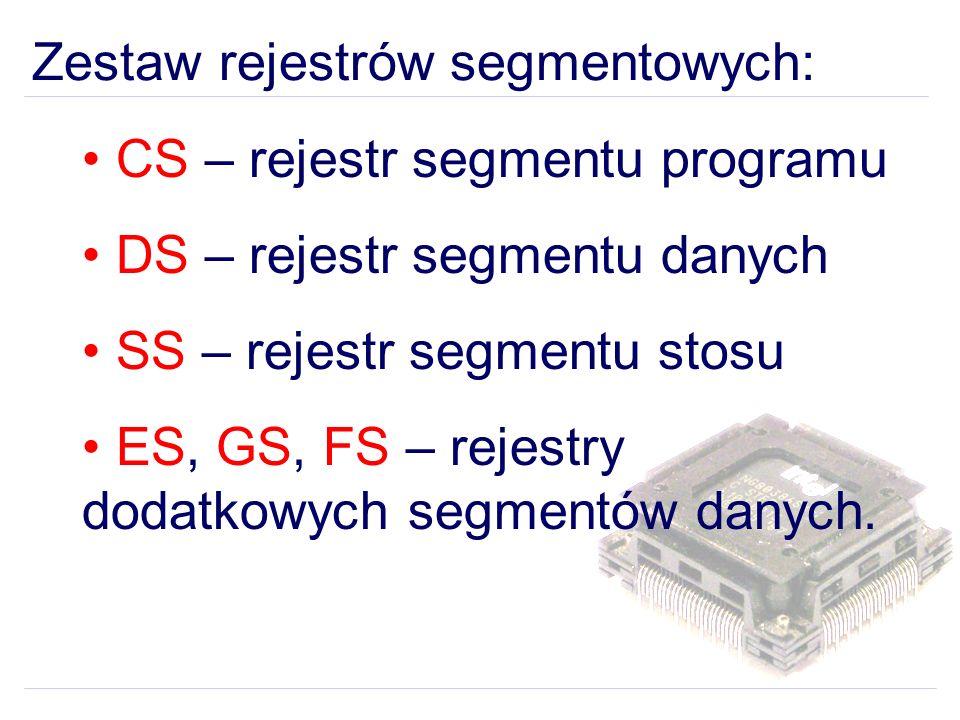 Zestaw rejestrów segmentowych: CS – rejestr segmentu programu DS – rejestr segmentu danych SS – rejestr segmentu stosu ES, GS, FS – rejestry dodatkowych segmentów danych.
