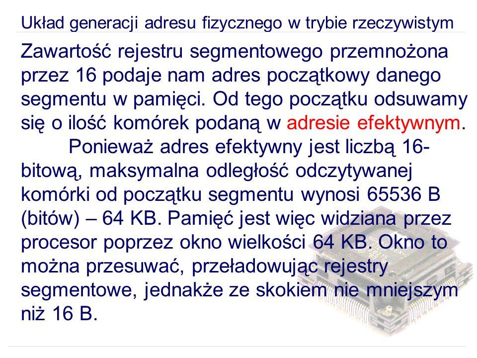 Układ generacji adresu fizycznego w trybie rzeczywistym Zawartość rejestru segmentowego przemnożona przez 16 podaje nam adres początkowy danego segmentu w pamięci.
