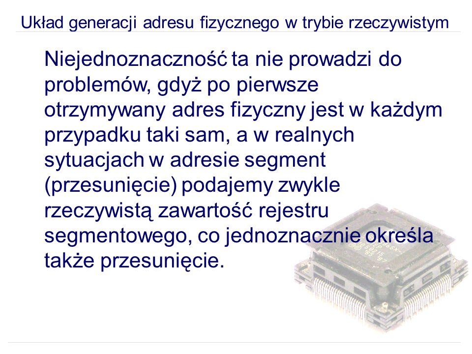 Układ generacji adresu fizycznego w trybie rzeczywistym Niejednoznaczność ta nie prowadzi do problemów, gdyż po pierwsze otrzymywany adres fizyczny jest w każdym przypadku taki sam, a w realnych sytuacjach w adresie segment (przesunięcie) podajemy zwykle rzeczywistą zawartość rejestru segmentowego, co jednoznacznie określa także przesunięcie.
