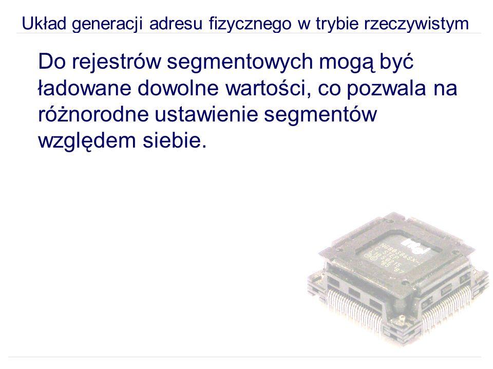 Układ generacji adresu fizycznego w trybie rzeczywistym Do rejestrów segmentowych mogą być ładowane dowolne wartości, co pozwala na różnorodne ustawienie segmentów względem siebie.