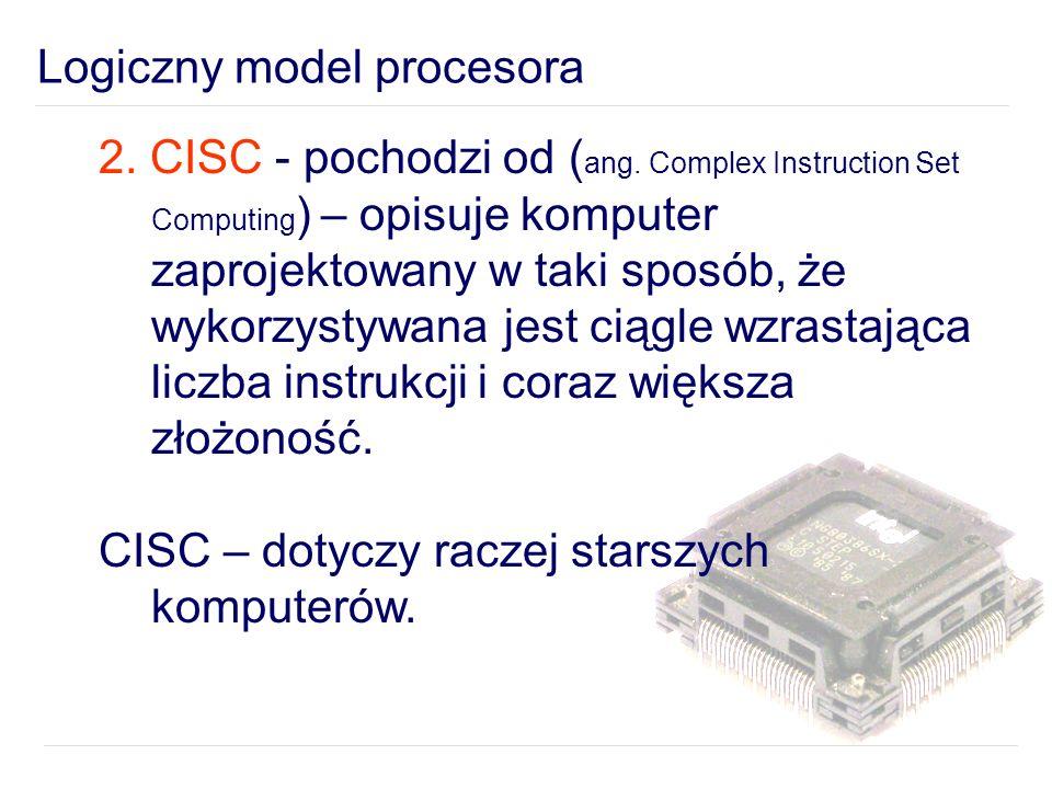Logiczny model procesora 2.CISC - pochodzi od ( ang.