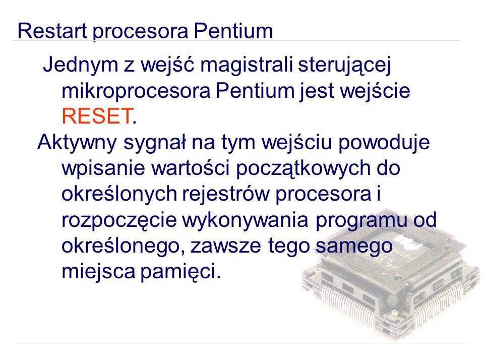 Jednym z wejść magistrali sterującej mikroprocesora Pentium jest wejście RESET.