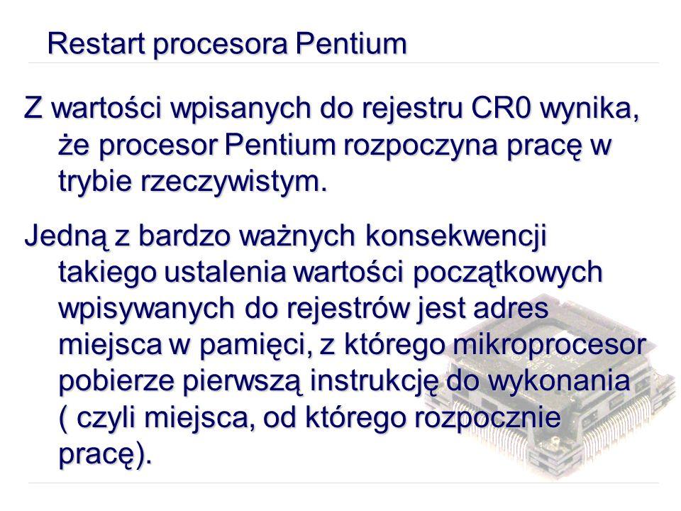 Restart procesora Pentium Z wartości wpisanych do rejestru CR0 wynika, że procesor Pentium rozpoczyna pracę w trybie rzeczywistym.