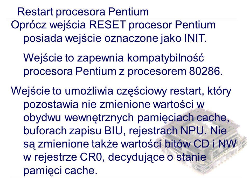 Restart procesora Pentium Oprócz wejścia RESET procesor Pentium posiada wejście oznaczone jako INIT.