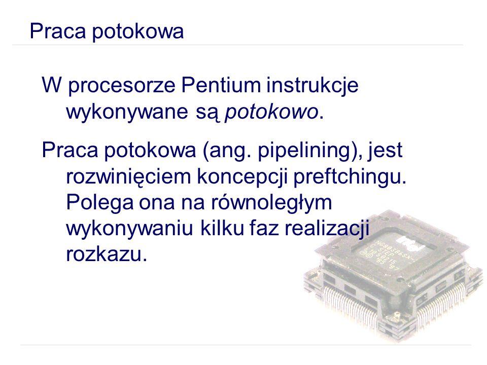 W procesorze Pentium instrukcje wykonywane są potokowo.