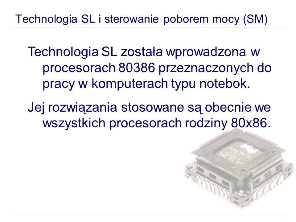 Technologia SL została wprowadzona w procesorach 80386 przeznaczonych do pracy w komputerach typu notebok.