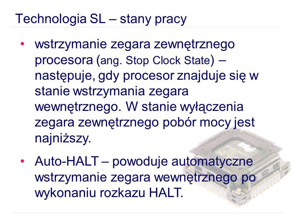 Technologia SL – stany pracy wstrzymanie zegara zewnętrznego procesora ( ang.
