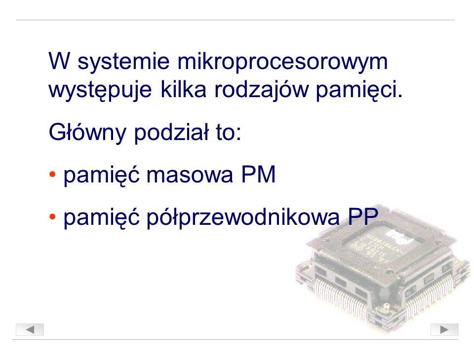 W systemie mikroprocesorowym występuje kilka rodzajów pamięci.
