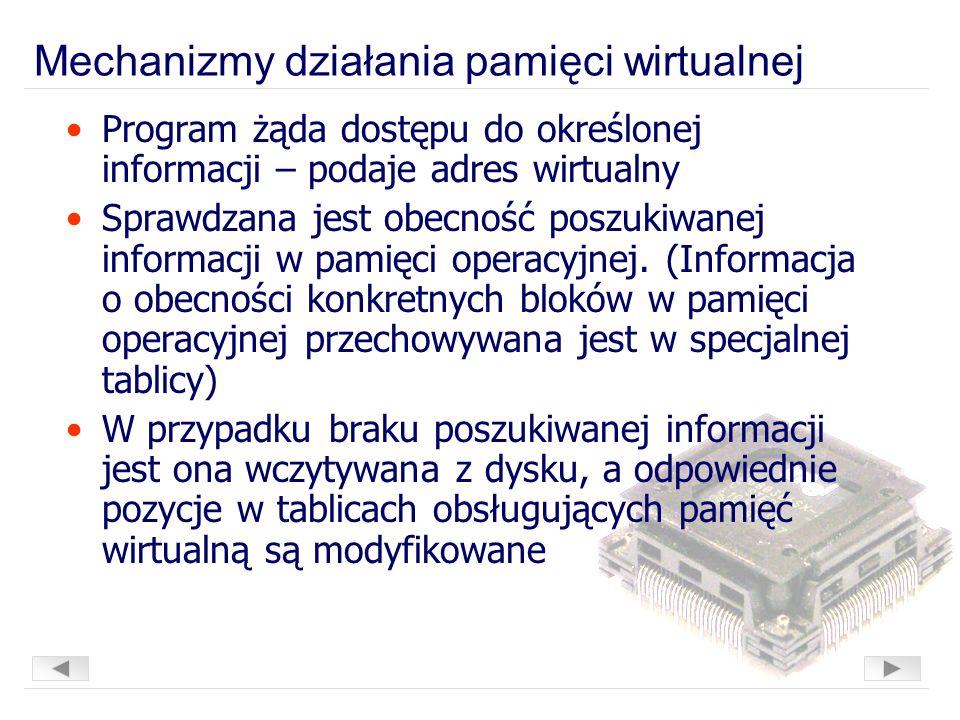 Mechanizmy działania pamięci wirtualnej Program żąda dostępu do określonej informacji – podaje adres wirtualny Sprawdzana jest obecność poszukiwanej informacji w pamięci operacyjnej.