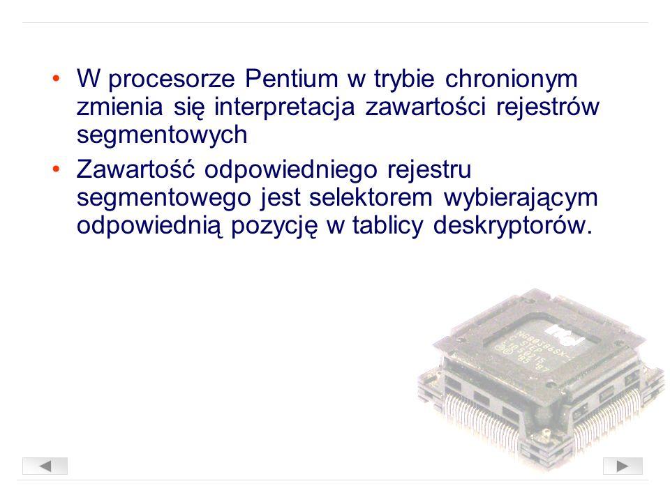 W procesorze Pentium w trybie chronionym zmienia się interpretacja zawartości rejestrów segmentowych Zawartość odpowiedniego rejestru segmentowego jest selektorem wybierającym odpowiednią pozycję w tablicy deskryptorów.
