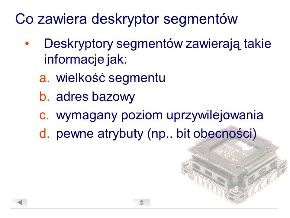 Co zawiera deskryptor segmentów Deskryptory segmentów zawierają takie informacje jak: a.wielkość segmentu b.adres bazowy c.wymagany poziom uprzywilejowania d.pewne atrybuty (np..