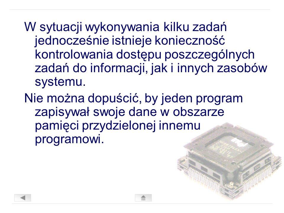 W sytuacji wykonywania kilku zadań jednocześnie istnieje konieczność kontrolowania dostępu poszczególnych zadań do informacji, jak i innych zasobów systemu.