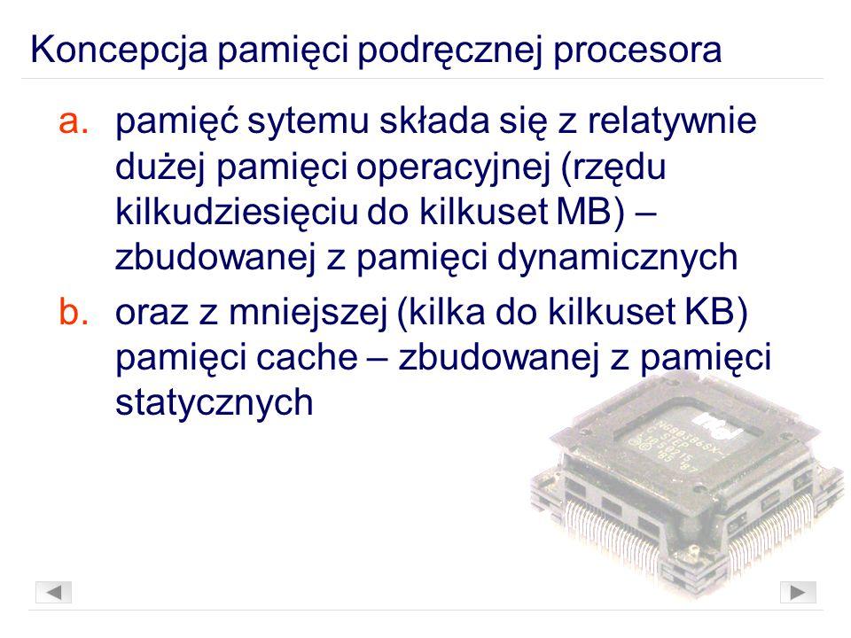 a.pamięć sytemu składa się z relatywnie dużej pamięci operacyjnej (rzędu kilkudziesięciu do kilkuset MB) – zbudowanej z pamięci dynamicznych b.oraz z mniejszej (kilka do kilkuset KB) pamięci cache – zbudowanej z pamięci statycznych Koncepcja pamięci podręcznej procesora