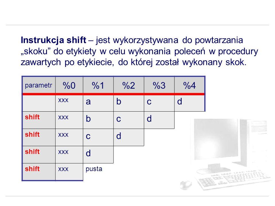 Instrukcja shift – jest wykorzystywana do powtarzania skoku do etykiety w celu wykonania poleceń w procedury zawartych po etykiecie, do której został