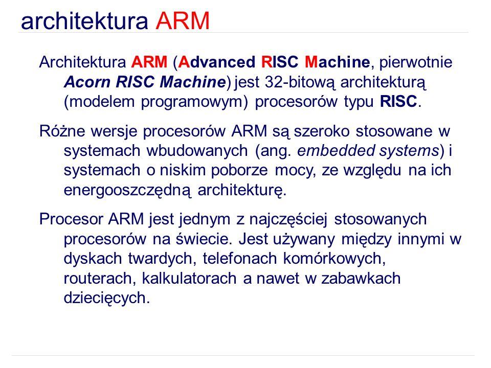 Architektura ARM (Advanced RISC Machine, pierwotnie Acorn RISC Machine) jest 32-bitową architekturą (modelem programowym) procesorów typu RISC. Różne