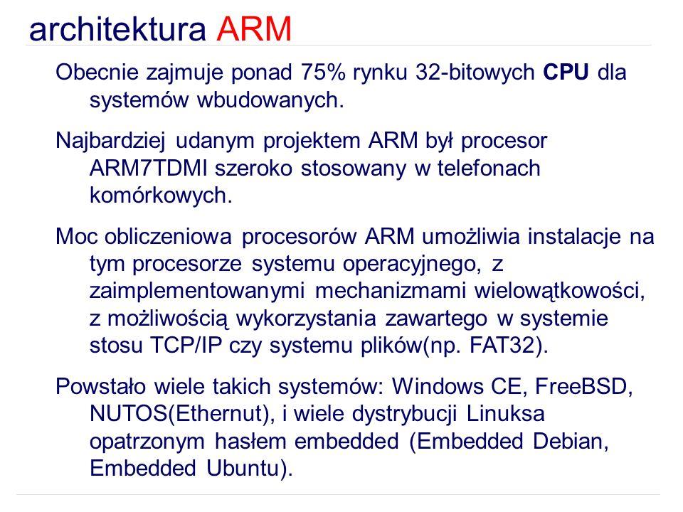 architektura ARM Obecnie zajmuje ponad 75% rynku 32-bitowych CPU dla systemów wbudowanych. Najbardziej udanym projektem ARM był procesor ARM7TDMI szer