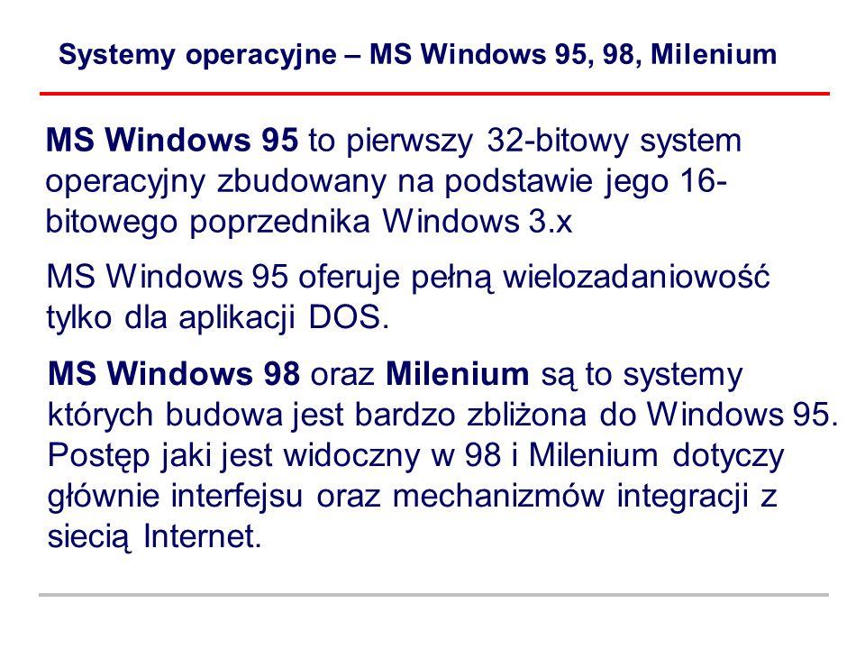 Systemy operacyjne – MS Windows 95, 98, Milenium MS Windows 95 to pierwszy 32-bitowy system operacyjny zbudowany na podstawie jego 16- bitowego poprze