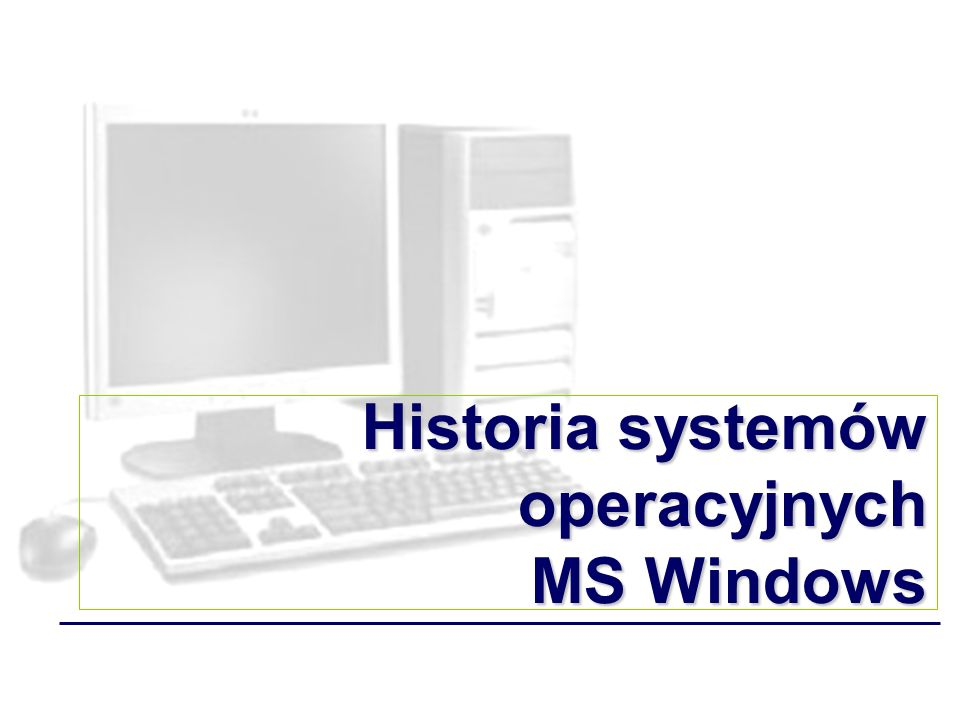 Historia systemów operacyjnych – MS Windows Diagram obrazujący przemiany systemów rodziny Windows Windows Vista MSDOS Windows Milenium Windows (1.0; 2.0; 3.0; 3.11) Windows 95 Windows 95 OSR1 Windows 95 OSR2 Windows 98 Windows 98 SE Windows XP NT (3.5; 4.0) NT 2008 Server 2000 2003 Server