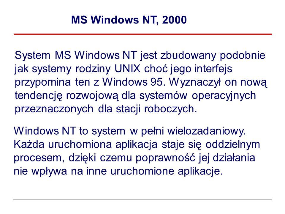 MS Windows NT, 2000 System MS Windows NT jest zbudowany podobnie jak systemy rodziny UNIX choć jego interfejs przypomina ten z Windows 95. Wyznaczył o