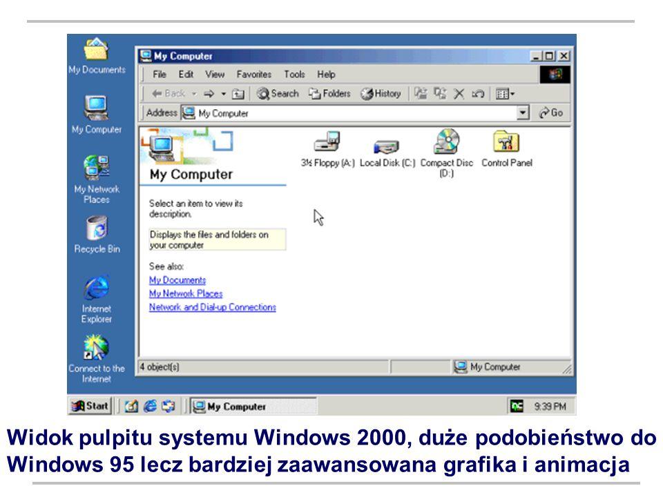 Widok pulpitu systemu Windows 2000, duże podobieństwo do Windows 95 lecz bardziej zaawansowana grafika i animacja