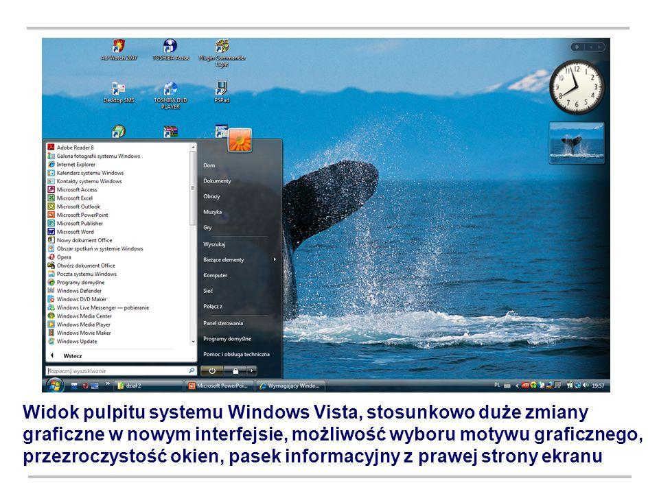 Widok pulpitu systemu Windows Vista, stosunkowo duże zmiany graficzne w nowym interfejsie, możliwość wyboru motywu graficznego, przezroczystość okien,