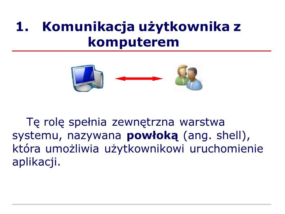 1. Komunikacja użytkownika z komputerem Tę rolę spełnia zewnętrzna warstwa systemu, nazywana powłoką (ang. shell), która umożliwia użytkownikowi uruch