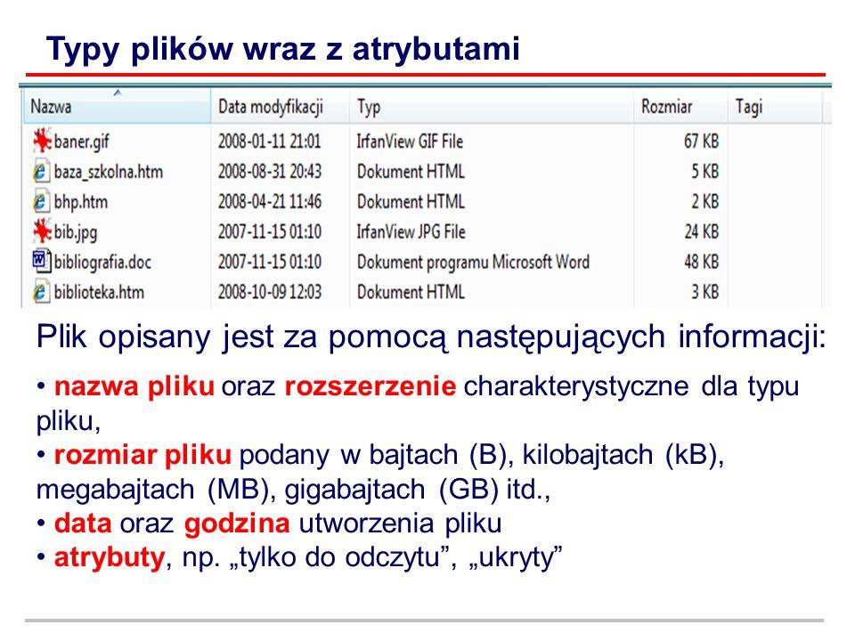 Plik opisany jest za pomocą następujących informacji: nazwa pliku oraz rozszerzenie charakterystyczne dla typu pliku, rozmiar pliku podany w bajtach (B), kilobajtach (kB), megabajtach (MB), gigabajtach (GB) itd., data oraz godzina utworzenia pliku atrybuty, np.