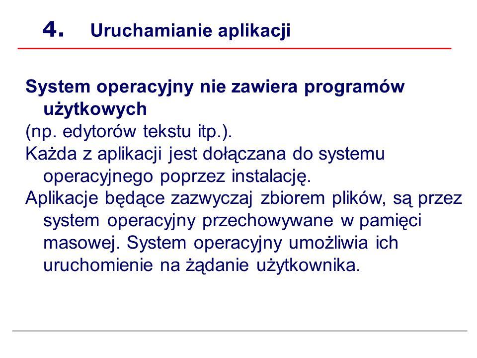 4.Uruchamianie aplikacji System operacyjny nie zawiera programów użytkowych (np.