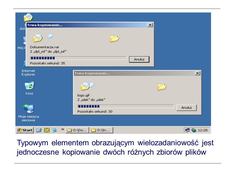 Typowym elementem obrazującym wielozadaniowość jest jednoczesne kopiowanie dwóch różnych zbiorów plików