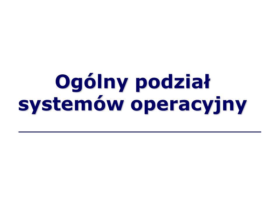 Systemy operacyjne z uwagi na liczbę jednocześnie wykonywanych zadań, np.