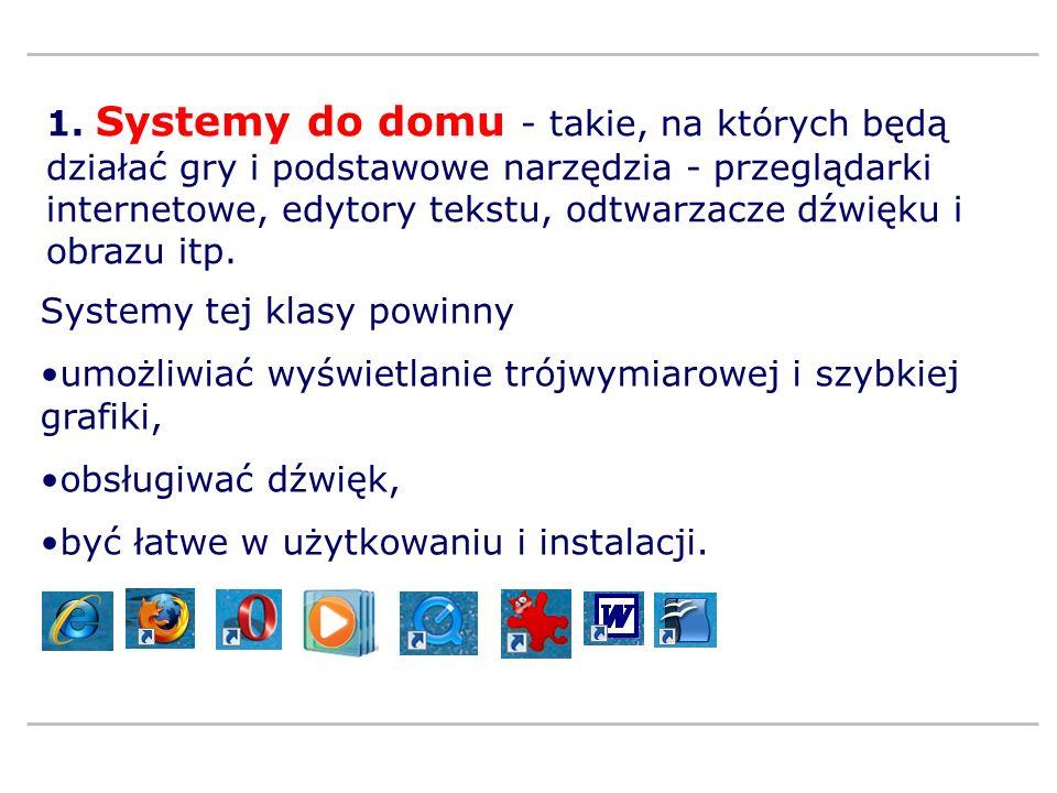 1. Systemy do domu - takie, na których będą działać gry i podstawowe narzędzia - przeglądarki internetowe, edytory tekstu, odtwarzacze dźwięku i obraz