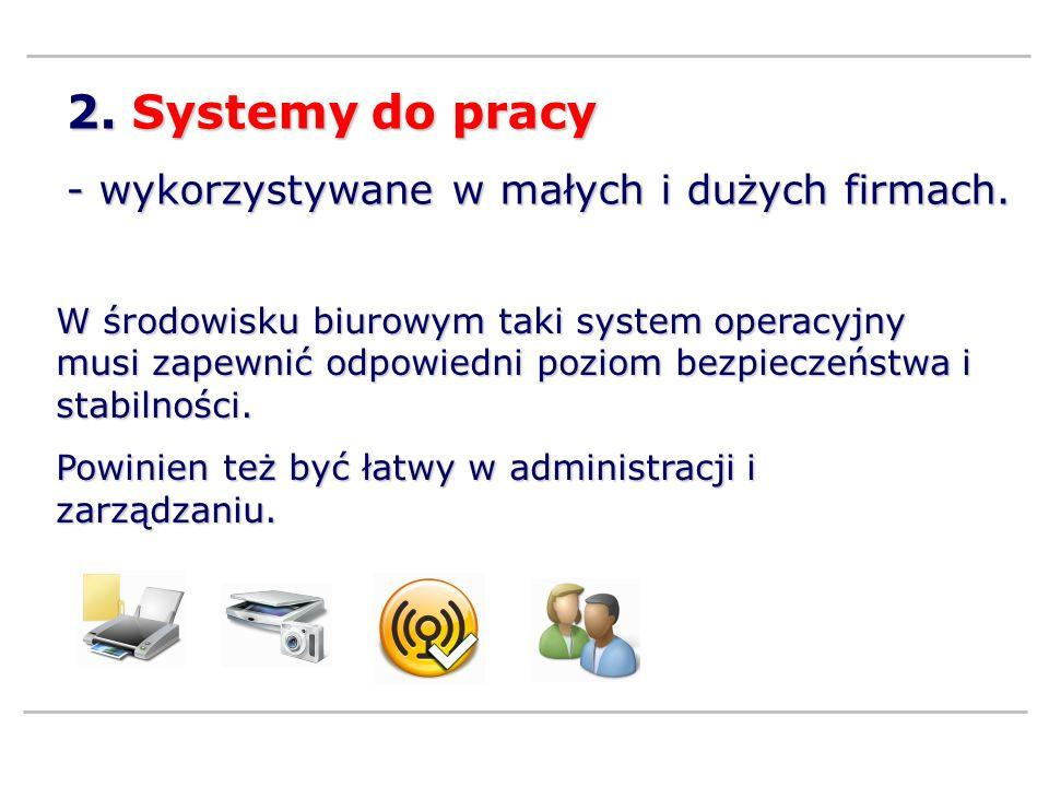 2.Systemy do pracy - wykorzystywane w małych i dużych firmach.