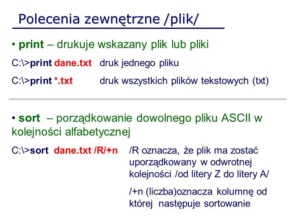 Polecenia zewnętrzne /plik/ print – drukuje wskazany plik lub pliki C:\>print dane.txtdruk jednego pliku C:\>print *.txtdruk wszystkich plików tekstow