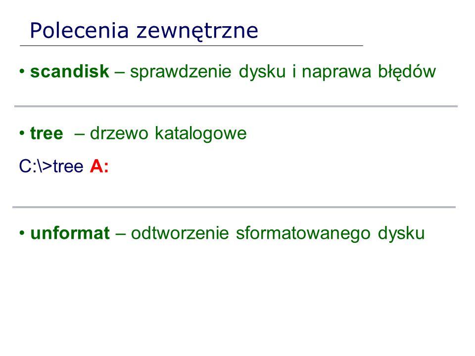 Polecenia zewnętrzne scandisk – sprawdzenie dysku i naprawa błędów tree – drzewo katalogowe C:\>tree A: unformat – odtworzenie sformatowanego dysku
