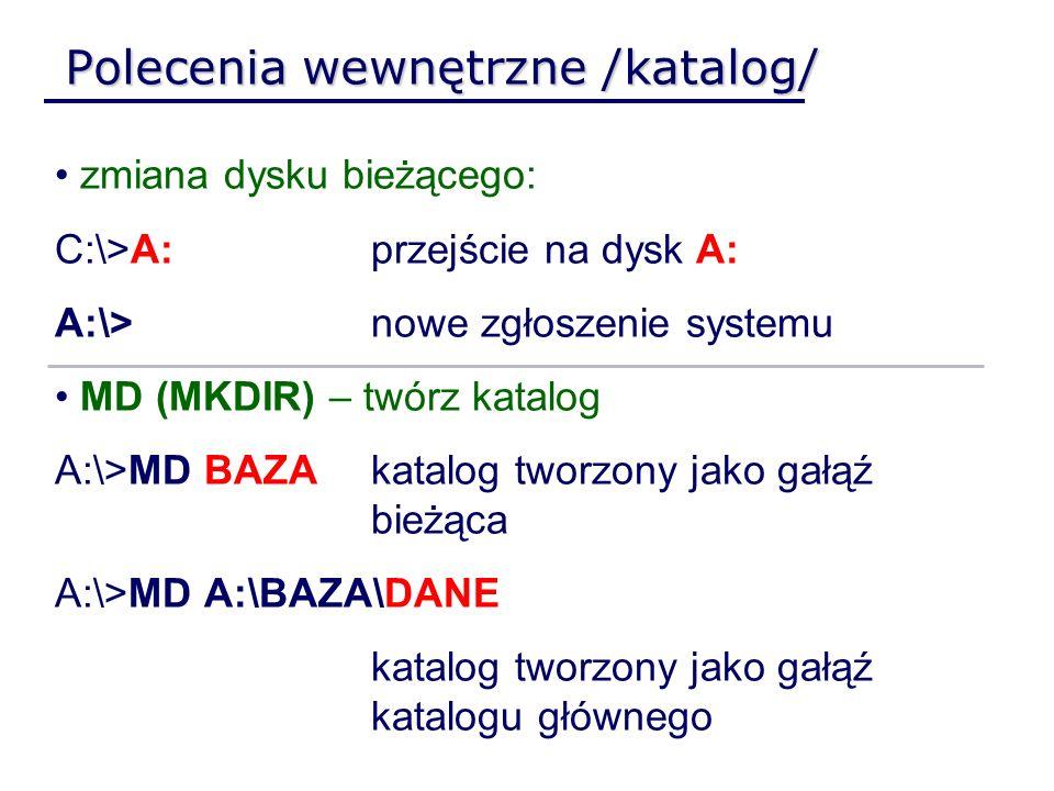 Polecenia wewnętrzne /katalog/ zmiana dysku bieżącego: C:\>A:przejście na dysk A: A:\>nowe zgłoszenie systemu MD (MKDIR) – twórz katalog A:\>MD BAZAka