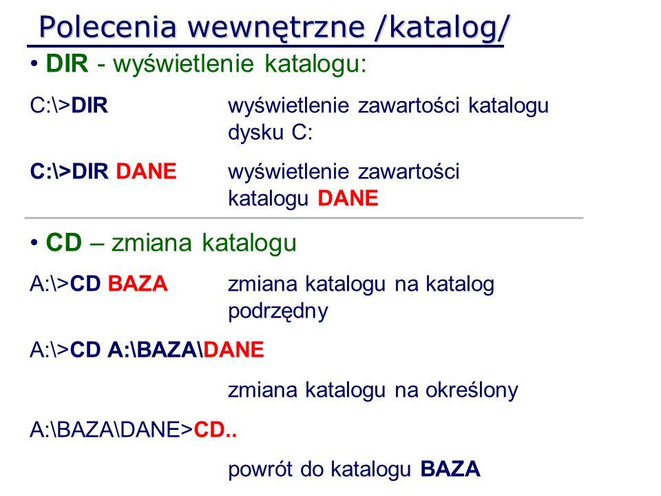 Polecenia wewnętrzne /katalog/ DIR - wyświetlenie katalogu: C:\>DIRwyświetlenie zawartości katalogu dysku C: C:\>DIR DANEwyświetlenie zawartości katal