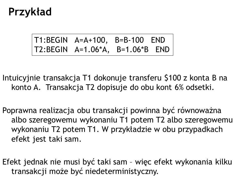 Przykład T1:BEGIN A=A+100, B=B-100 END T2:BEGIN A=1.06*A, B=1.06*B END Intuicyjnie transakcja T1 dokonuje transferu $100 z konta B na konto A. Transak