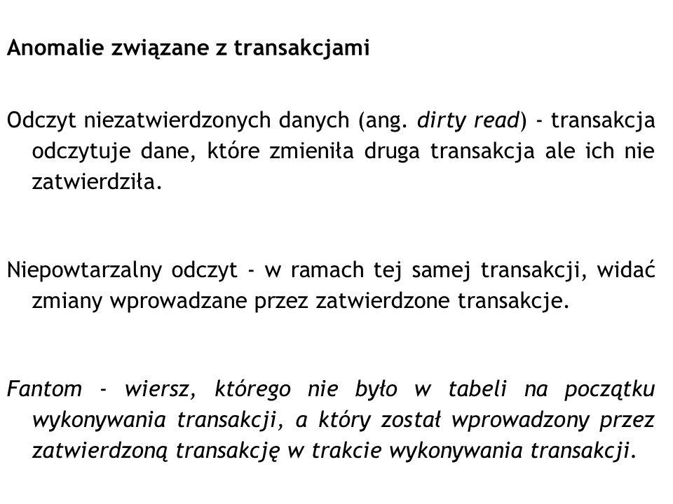 Anomalie związane z transakcjami Odczyt niezatwierdzonych danych (ang. dirty read) - transakcja odczytuje dane, które zmieniła druga transakcja ale ic