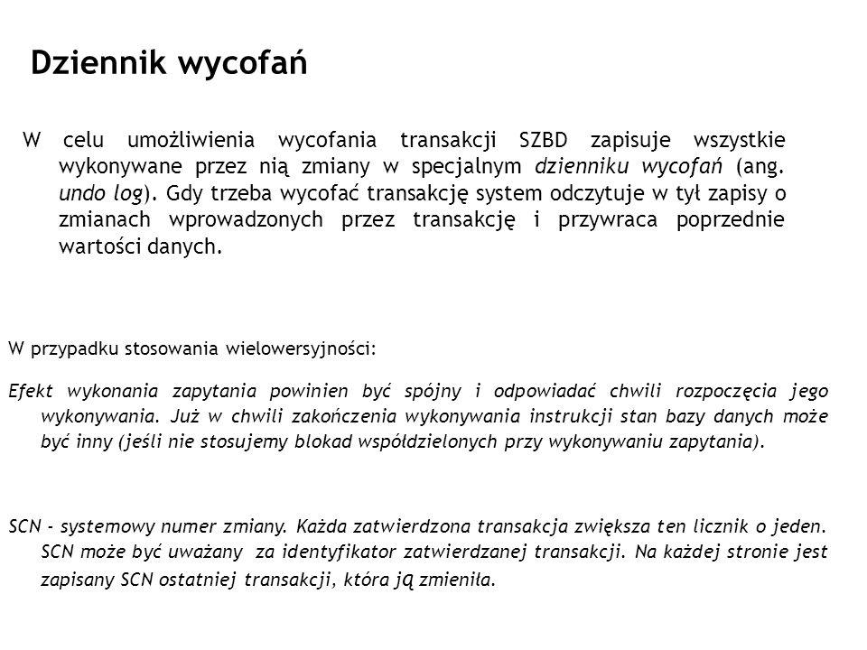 Dziennik wycofań W celu umożliwienia wycofania transakcji SZBD zapisuje wszystkie wykonywane przez nią zmiany w specjalnym dzienniku wycofań (ang. und